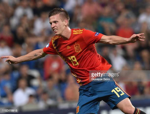 Dani Olmo of Spain in action during the 2019 UEFA U21 SemiFinal match between Spain and France at Mapei Stadium Citta' del Tricolore on June 27 2019...