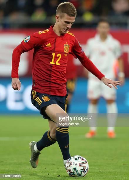 Dani Olmo of Spain in action during the UEFA Euro 2020 Qualifier between Spain and Malta on November 15 2019 in Cadiz Spain