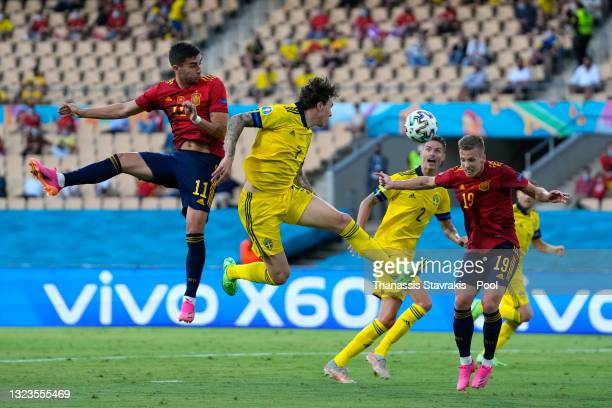 Dani Olmo of Spain looks on before having a header saved during the UEFA Euro 2020 Championship Group E match between Spain and Sweden at the La...