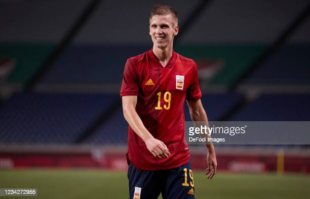Dani Olmo of Spain looks on during the Men's Group C match between Spain and Argentina on day five of the Tokyo 2020 Olympic Games at Saitama Stadium...