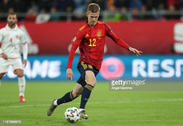 Dani Olmo of Spain on his way to scoring his team's fifth goal during the UEFA Euro 2020 Qualifier between Spain and Malta on November 15 2019 in...