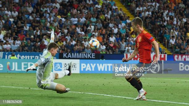 Dani Olmo of Spain scores his team's second goal during the 2019 UEFA U21 Final between Spain and Germany at Stadio Friuli on June 30 2019 in Udine...