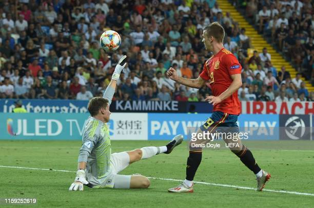 Dani Olmo of Spain scores his team's second goal during the 2019 UEFA U-21 Final between Spain and Germany at Stadio Friuli on June 30, 2019 in...