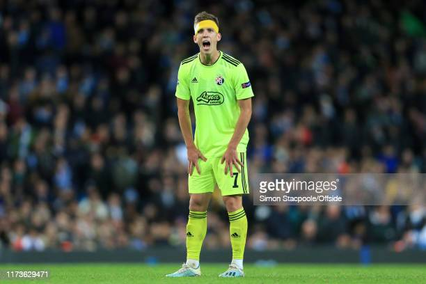 Dani Olmo of Zagreb shouts instructions during the UEFA Champions League group C match between Manchester City and Dinamo Zagreb at the Etihad...