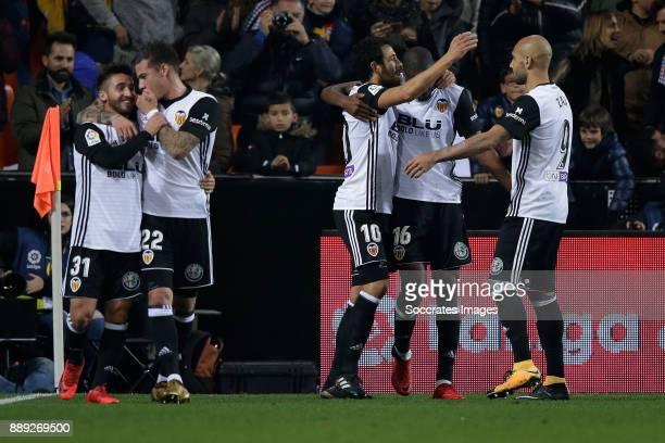 Dani Parejo of Valencia CF celebrates 21 with Geoffrey Kondogbia of Valencia CF Zaza of Valencia CF Ignacio Gil De Pareja of Valencia CF Santi Mina...