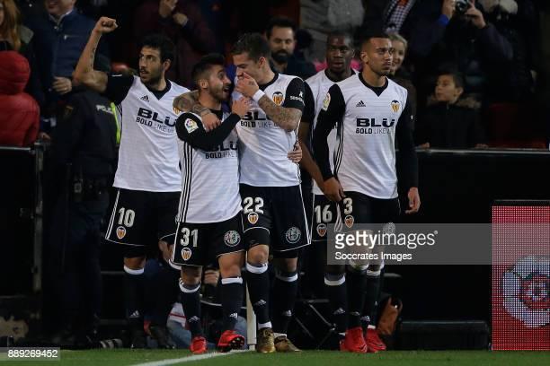 Dani Parejo of Valencia CF celebrates 21 with Ignacio Gil De Pareja of Valencia CF Santi Mina of Valencia CF Ruben Vezo of Valencia CF during the...
