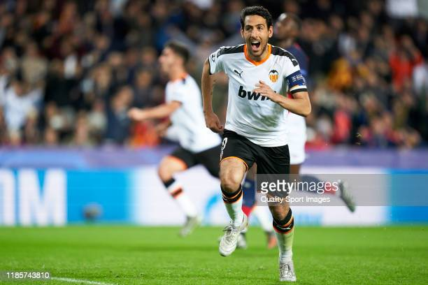 Dani Parejo of Valencia CF celebrates after scoring his team's first goal during the UEFA Champions League group H match between Valencia CF and...