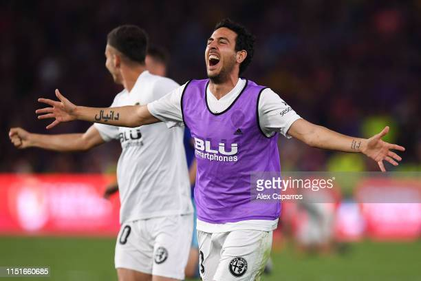 Dani Parejo of Valencia CF celebrates at the end of the Spanish Copa del Rey match between Barcelona and Valencia at Estadio Benito Villamarin on May...