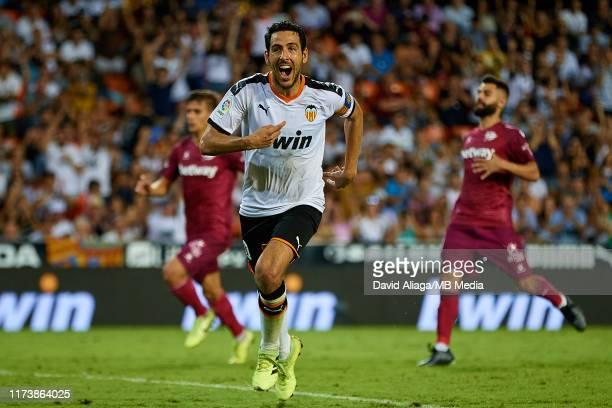 Dani Parejo of Valencia CF celebrates his side's second goal during the Liga match between Valencia CF and Deportivo Alaves at Estadio Mestalla on...