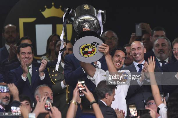 Dani Parejo of Valencia CF celebrates with the trophy at the end of the Spanish Copa del Rey match between Barcelona and Valencia at Estadio Benito...