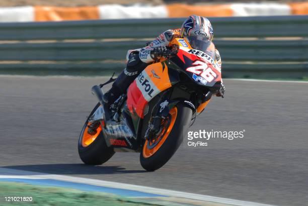 Dani Pedrosa during training for the 2006 Estoril Moto GP in Estoril Portugal on October 14 2006