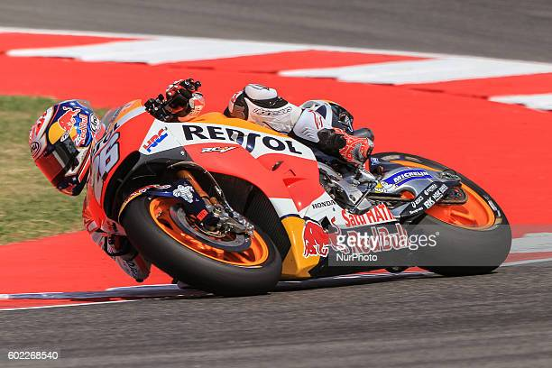 Dani Pedrosa from Spain HRC Repsol Honda Team during the Day2 Free Practice at the Marco Simoncelli World Circuit for the 11th round of MotoGP World...