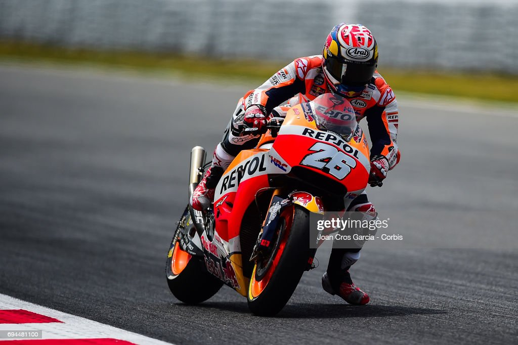 Dani Pedrosa of Repsol Honda Team braking hard his bike during the Moto GP of Catalunya at Circuit de Catalunya on June 9, 2017 in Montmelo, Spain..