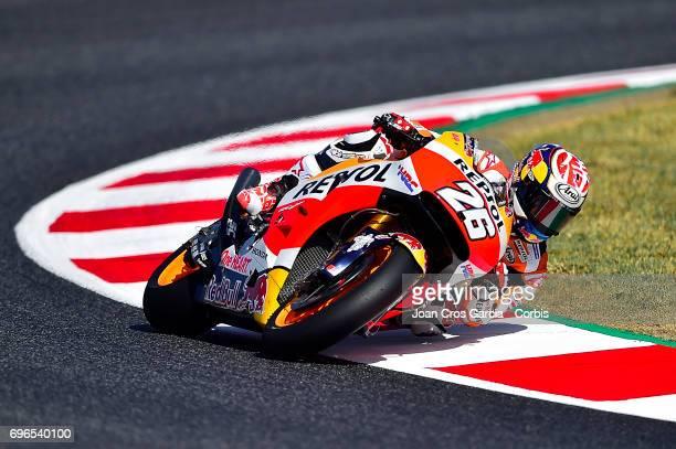 Dani Pedrosa of Repsol Honda Team going through a curve during the Free Practice 3 Moto GP of Catalunya at Circuit de Catalunya on June 10 2017 in...