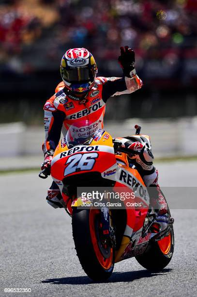 Dani Pedrosa of Repsol Honda Team greeting his fans during the Qualifying Moto GP of Catalunya at Circuit de Catalunya on June 10 2017 in Montmelo...