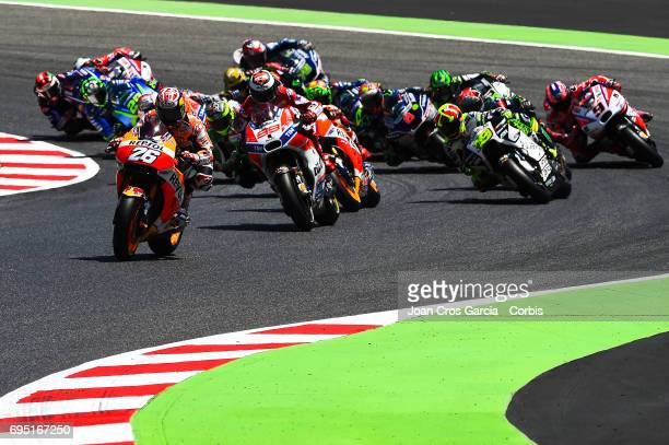 Dani Pedrosa of Repsol Honda Team in the first place after the race started during the Moto GP race Moto GP of Catalunya at Circuit de Catalunya on...