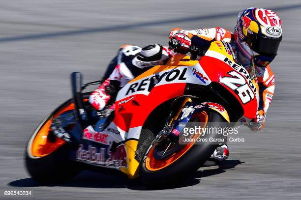 Dani Pedrosa of Repsol Honda Team riding his bike during the Free Practice 3 Moto GP of Catalunya at Circuit de Catalunya on June 10 2017 in Montmelo...