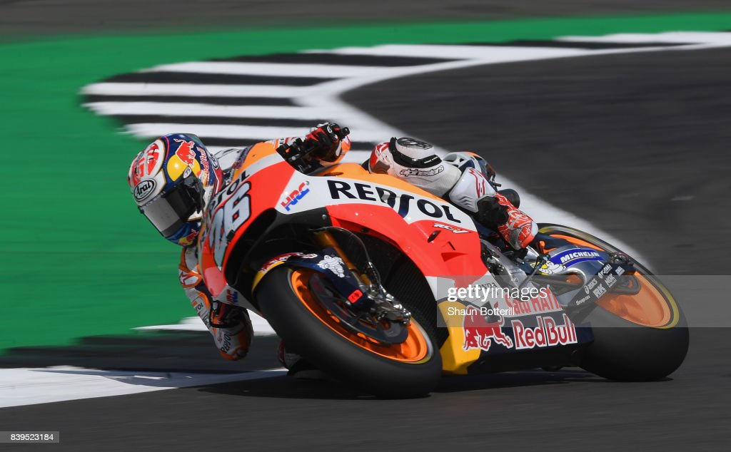 Dani Pedrosa of Spain and Repsol Honda during Free Practice 3 at Silverstone Circuit on August 26, 2017 in Northampton, England.
