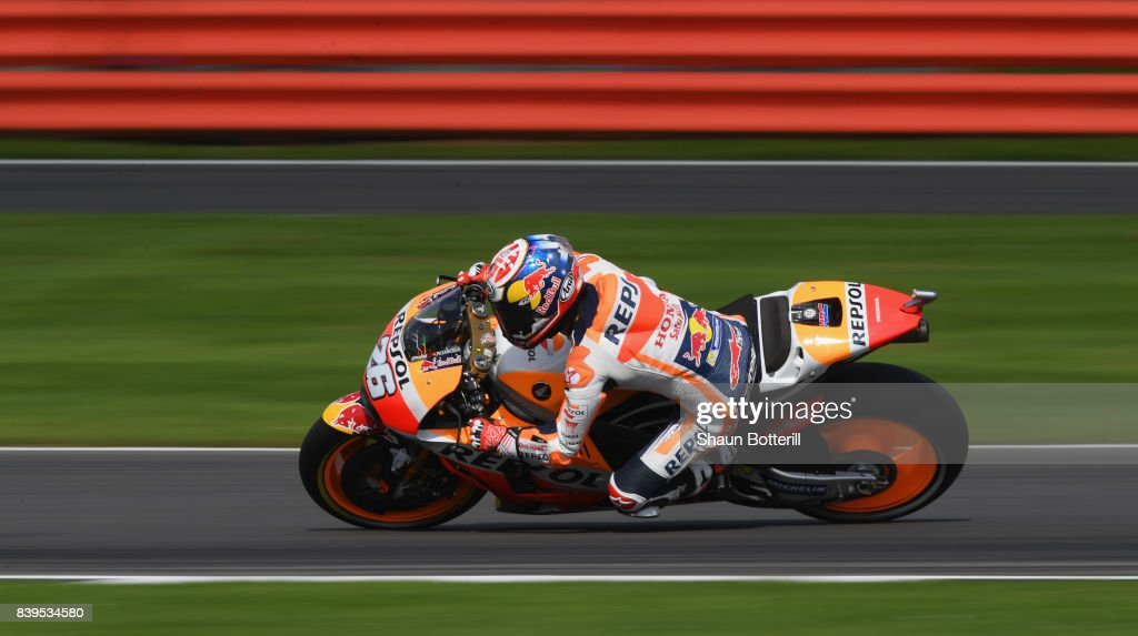 Dani Pedrosa of Spain and Repsol Honda during Free Practice 4 at Silverstone Circuit on August 26, 2017 in Northampton, England.