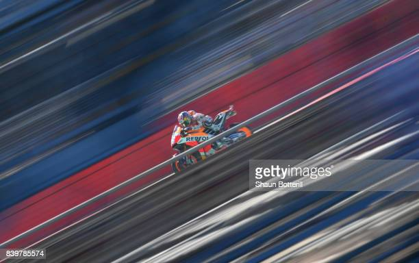 Dani Pedrosa of Spain and Repsol Honda during Warm Up at Silverstone Circuit on August 27 2017 in Northampton England