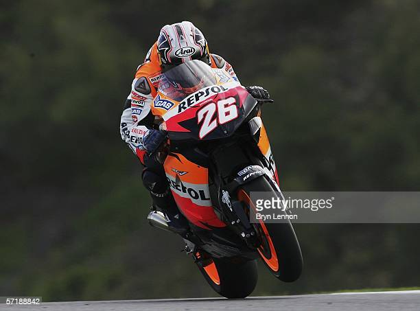 Dani Pedrosa of Spain and Repsol Honda in action during Free Practice Three for the MotoGP of Spain at the Circuito de Jerez, on March 25, 2006 in...