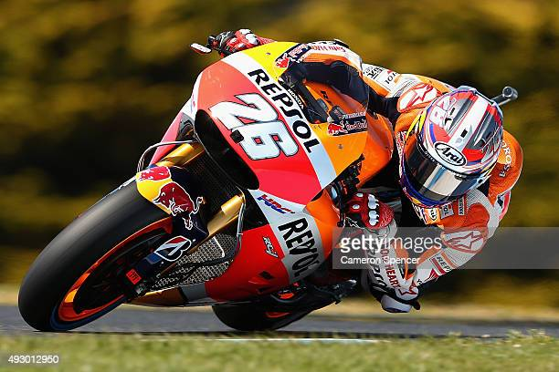 Dani Pedrosa of Spain and Repsol Honda rides during free practice for the 2015 MotoGP of Australia at Phillip Island Grand Prix Circuit on October 17...