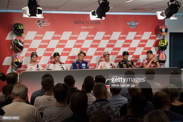 Dani Pedrosa of Spain and Repsol Honda Team Cal Crutchlow of Great Britain and LCR Honda Valentino Rossi of Italy and Movistar Yamaha MotoGP Marc...