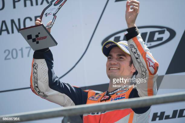 Dani Pedrosa of Spain and Repsol Honda Team celebrate on the podium at the end of the MotoGP race during the MotoGp of France Race on May 21 2017 in...