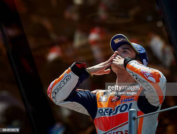 Dani Pedrosa of Spain and Repsol Honda Team celebrates on the podium after the Moto GP race at Circuit de Catalunya on June 11 2017 in Montmelo Spain