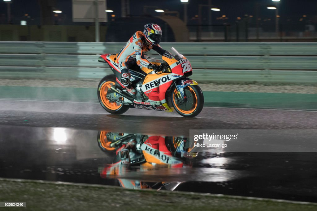 Dani Pedrosa of Spain and Repsol Honda Team heads down a straight and test the wet track during the Moto GP Testing - Qatar at Losail Circuit on March 3, 2018 in Doha, Qatar.