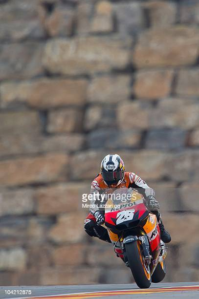 Dani Pedrosa of Spain and Repsol Honda Team heads down a straight during the first free practice of MotoGP of Aragon at Motorland Aragon Circuit on...