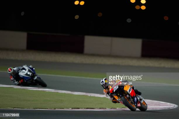 Dani Pedrosa of Spain and Repsol Honda Team heads down a straight during the qualifying practice at Losail Circuit on March 19 2011 in Doha Qatar