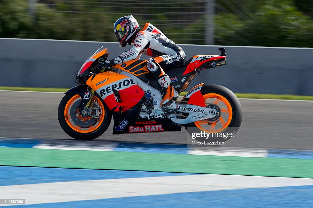 Dani Pedrosa of Spain and Repsol Honda Team heads down a straight during the third day of testing of MotoGP Tests In Jerez at Circuito de Jerez on March 25, 2012 in Jerez de la Frontera, Spain.