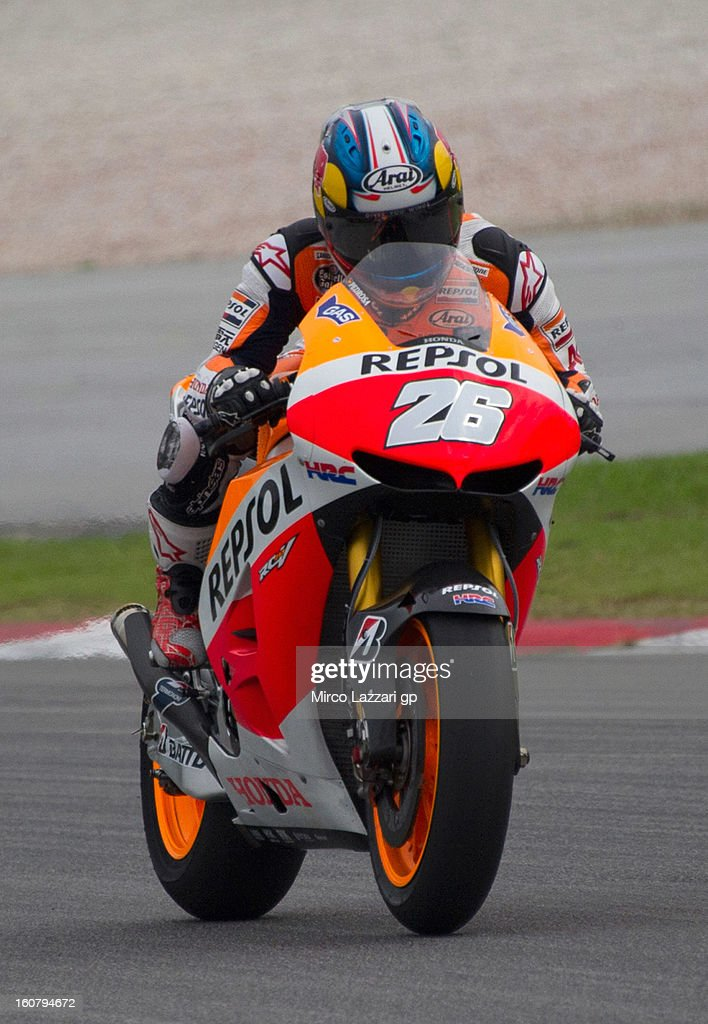 Dani Pedrosa of Spain and Repsol Honda Team heads down a straight during the MotoGP Tests in Sepang - Day Four at Sepang Circuit on February 6, 2013 in Kuala Lumpur, Malaysia.