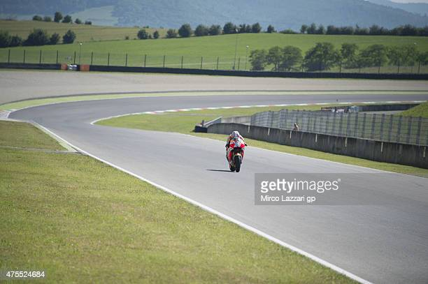 Dani Pedrosa of Spain and Repsol Honda Team heads down a straight during the Michelin tires test during the MotoGp Tests At Mugello at Mugello...