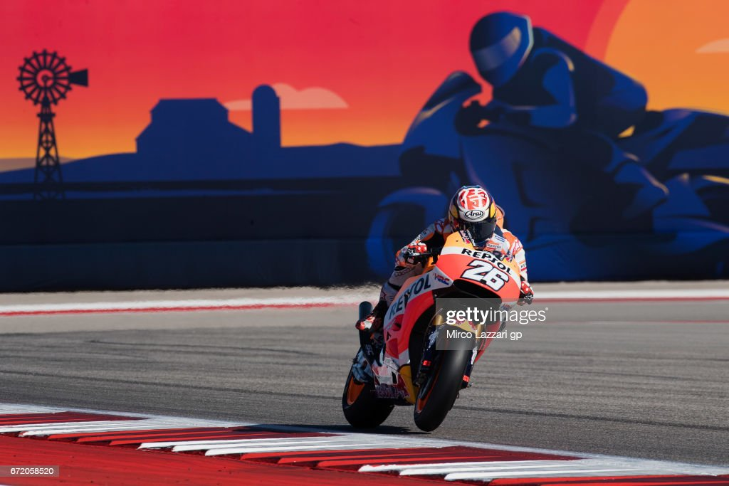 Dani Pedrosa of Spain and Repsol Honda Team heads down a straight during the MotoGp Red Bull U.S. Grand Prix of The Americas - Race at Circuit of The Americas on April 23, 2017 in Austin, Texas.