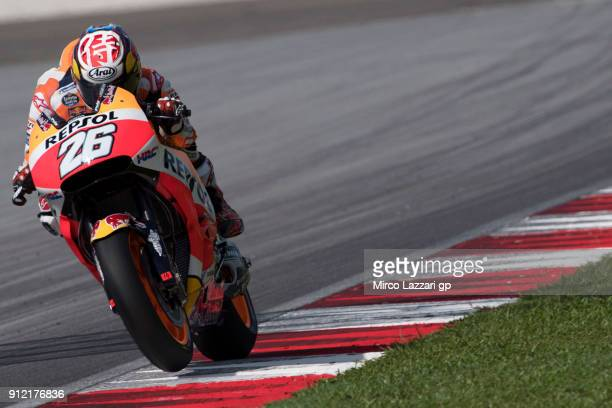 Dani Pedrosa of Spain and Repsol Honda Team heads down a straight during the MotoGP test in Sepang at Sepang Circuit on January 30 2018 in Kuala...