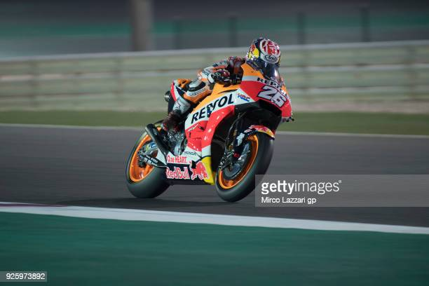 Dani Pedrosa of Spain and Repsol Honda Team heads down a straight during the MotoGP Testing Qatar at Losail Circuit on March 1 2018 in Doha Qatar