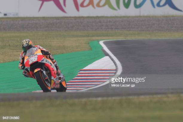 Dani Pedrosa of Spain and Repsol Honda Team heads down a straight during the qualifying practice during the MotoGp of Argentina Qualifying on April 7...