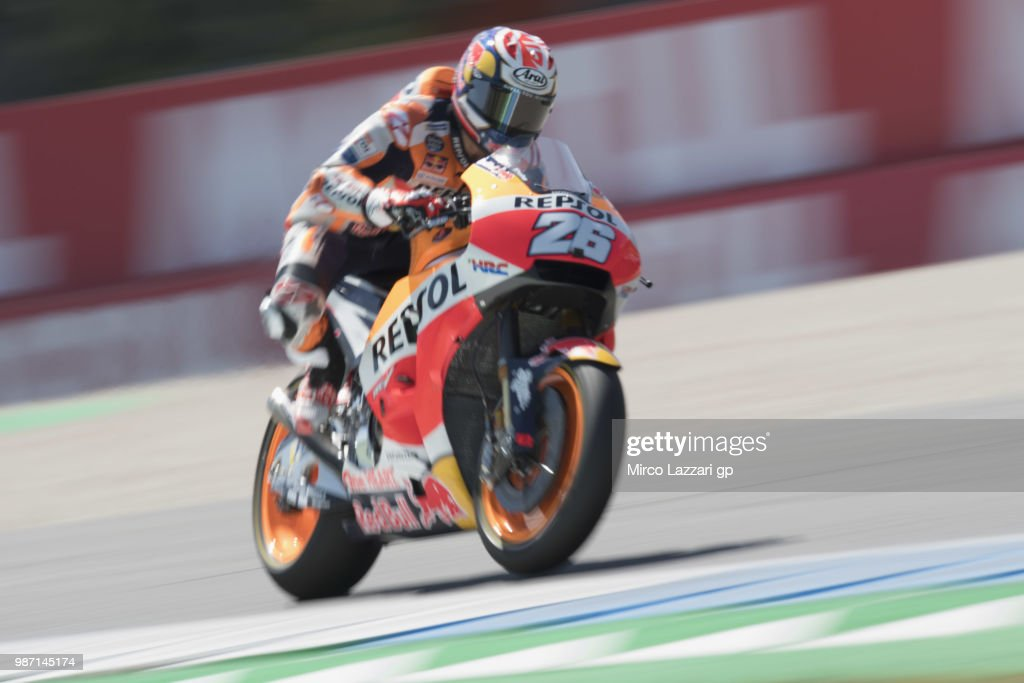 Dani Pedrosa of Spain and Repsol Honda Team heads down a straight during the MotoGP Netherlands - Free Practice on June 29, 2018 in Assen, Netherlands.