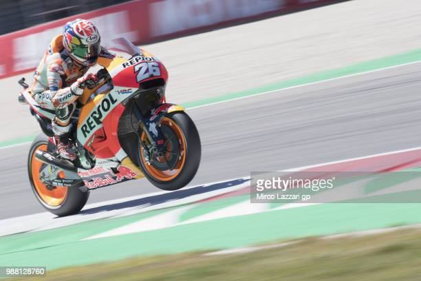 Dani Pedrosa of Spain and Repsol Honda Team heads down a straight during the Qualifying practice during the MotoGP Netherlands Qualifying on June 30...