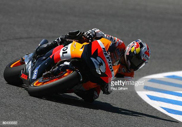 Dani Pedrosa of Spain and Repsol Honda Team in action during the MotoGP of Spain at Circuito de Jerez on March 30 2008 in Jerez Spain