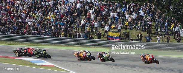 Dani Pedrosa of Spain and Repsol Honda Team leads the field during the MotoGP race during the MotoGp Of Holland Race at TT Circuit Assen on June 29...