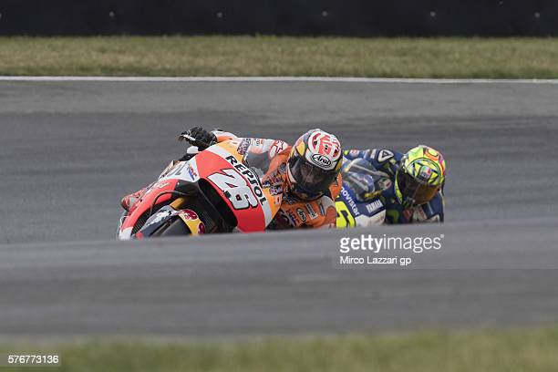 Dani Pedrosa of Spain and Repsol Honda Team leads the field during the MotoGP race during the MotoGp of Germany Race at Sachsenring Circuit on July...