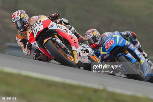 Dani Pedrosa of Spain and Repsol Honda Team leads the field during the MotoGp of Czech Republic Free Practice at Brno Circuit on August 19 2016 in...