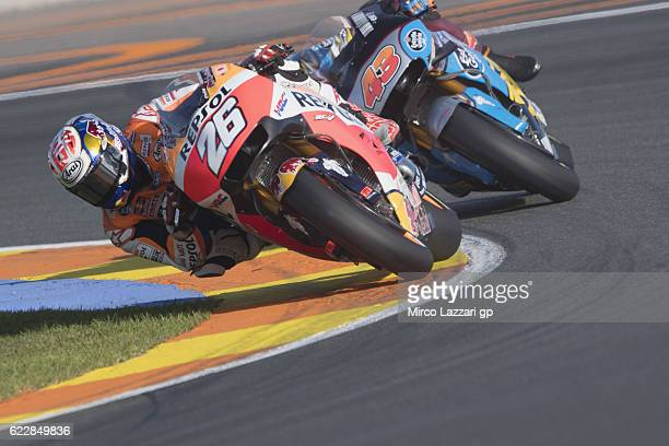 Dani Pedrosa of Spain and Repsol Honda Team leads the field during the MotoGP of Valencia Qualifying at Ricardo Tormo Circuit on November 12 2016 in...