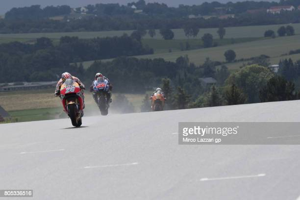 Dani Pedrosa of Spain and Repsol Honda Team leads the field during the MotoGp of Germany Qualifying at Sachsenring Circuit on July 1 2017 in...