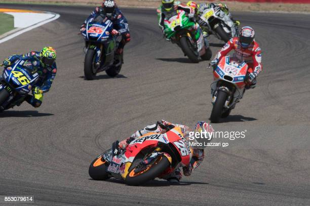 Dani Pedrosa of Spain and Repsol Honda Team leads the field during the MotoGP race during the MotoGP of Aragon Race at Motorland Aragon Circuit on...