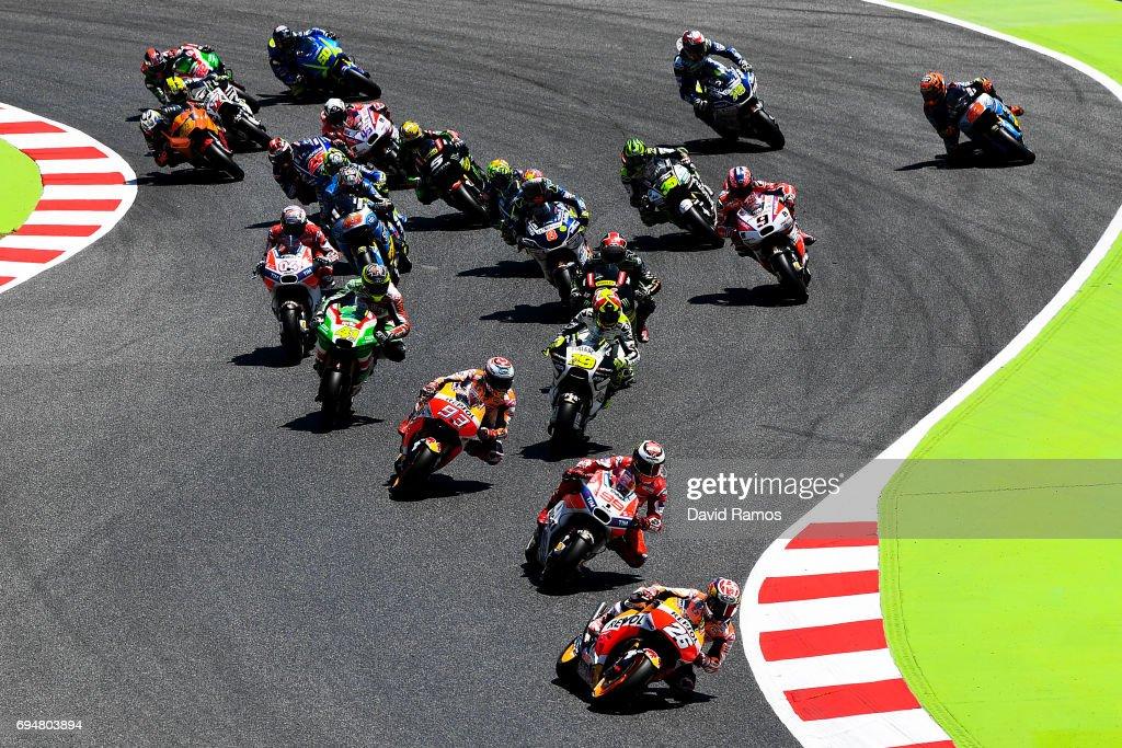 Dani Pedrosa of Spain and Repsol Honda Team leads the pack during the MotoGp of Catalunya at Circuit de Catalunya on June 11, 2017 in Montmelo, Spain.