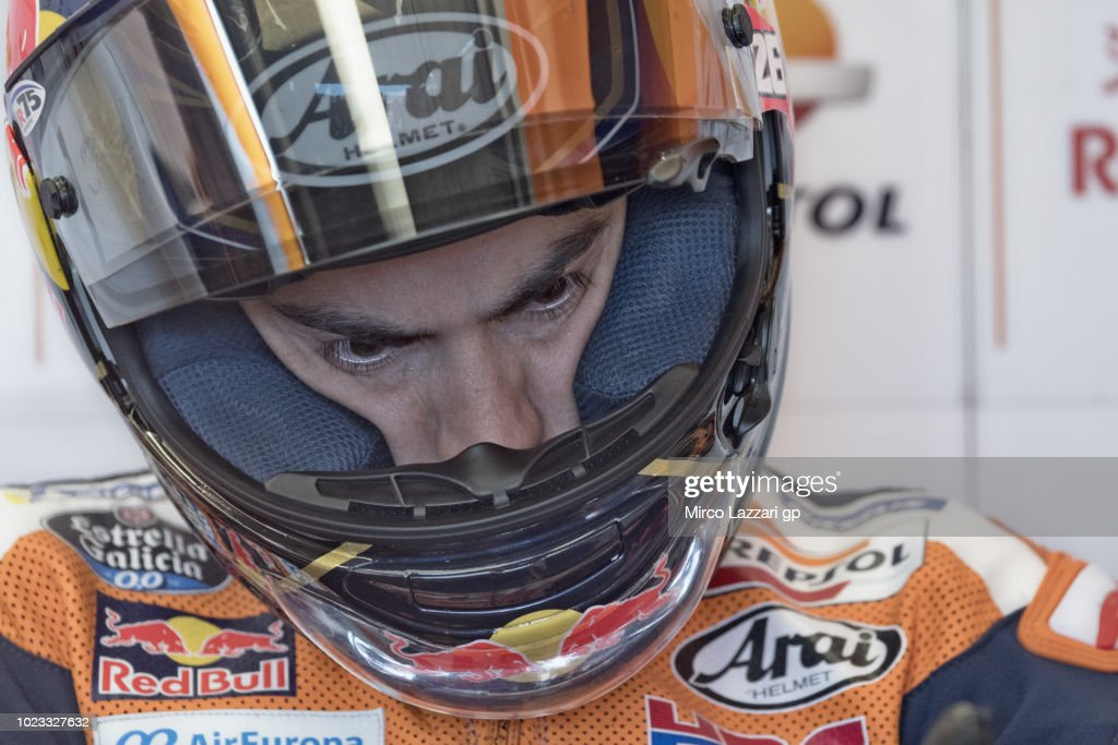 Dani Pedrosa of Spain and Repsol Honda Team looks on in box during the qualfying practice during the MotoGp Of Great Britain - Qualifying at Silverstone Circuit on August 25, 2018 in Northampton, England.